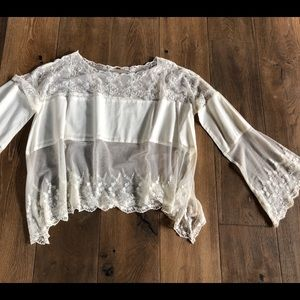 Tops - White sheer lace blouse